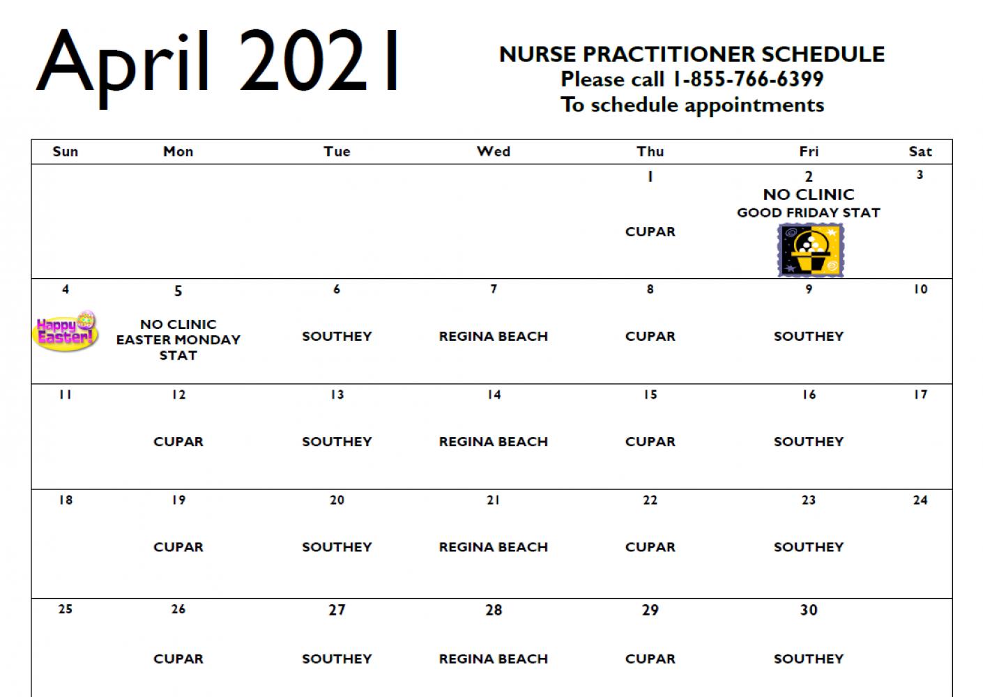 April Nurse Practitioner Schedule