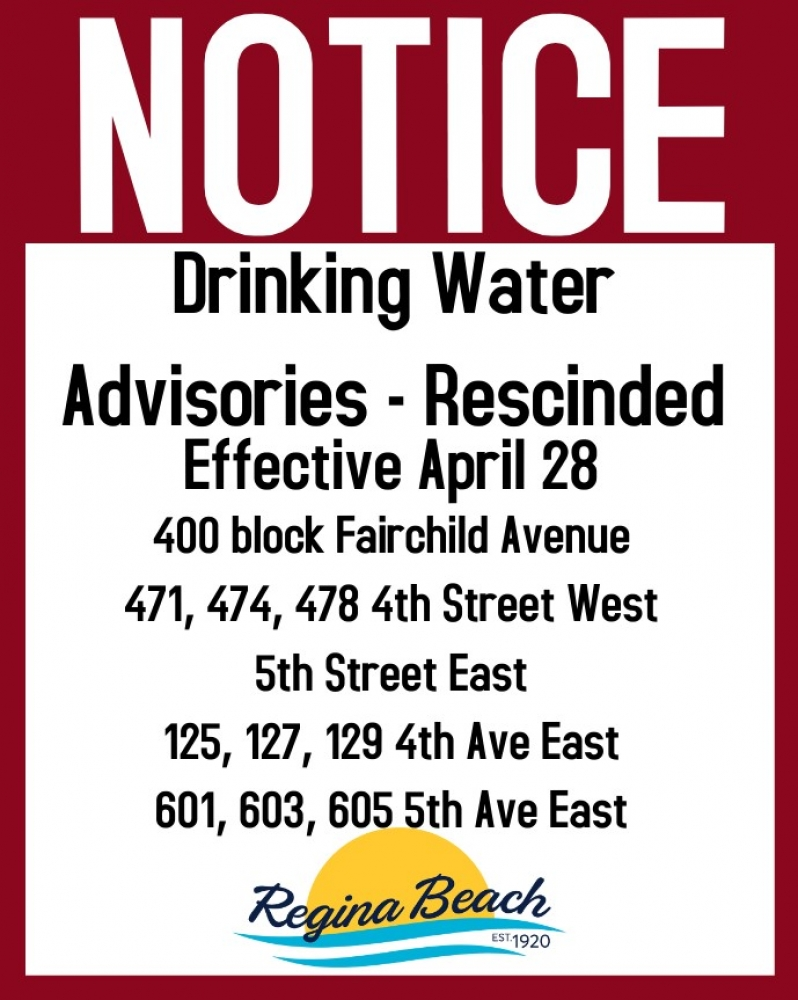 Drinking Water Advisories - Rescinded