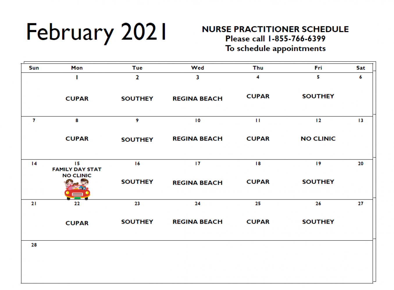 February Nurse Practitioner Schedule