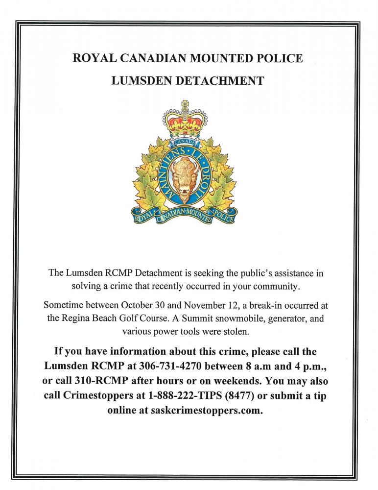 Lumsden RCMP Notice