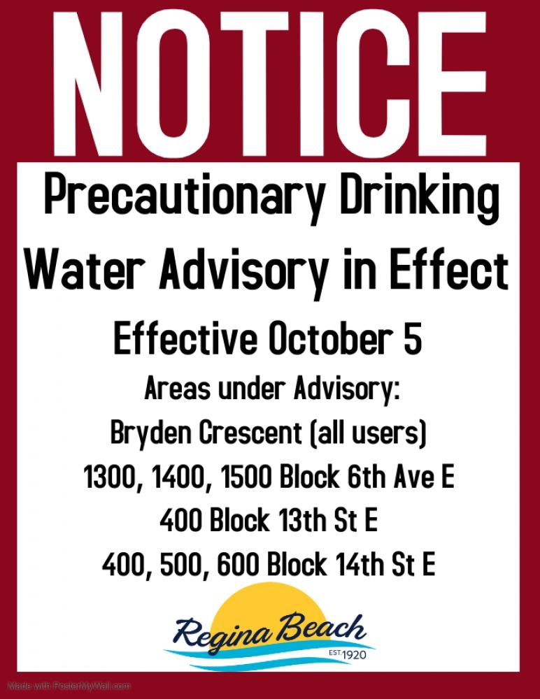 Precautionary Drinking Water Advisory - Bryden Cres, 6th Ave, 14th St E, 13th St E