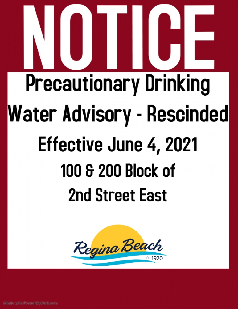 Precautionary Drinking Water Advisory Rescinded - 100 & 200 Block of 2nd Street East