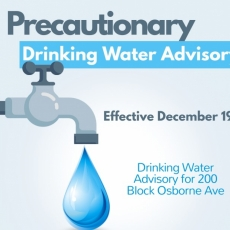 Precautionary Drinking Water Advisory – 200 Block Osborne Ave